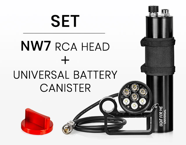 Light For Me dive set made of NW7 head and Universal Battery Canister